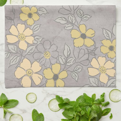 vintage yellow and gray floral wedding towels zazzle. Black Bedroom Furniture Sets. Home Design Ideas