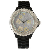 Vintage Yellow and Gray Floral Wedding Wrist Watch
