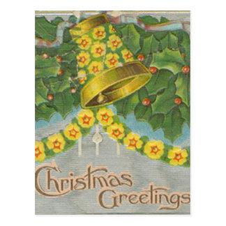 Vintage Yellow and Green Christmas Bells Postcard
