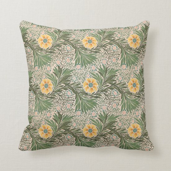 Vintage Yellow and Green Floral Baroque Pattern Throw Pillow