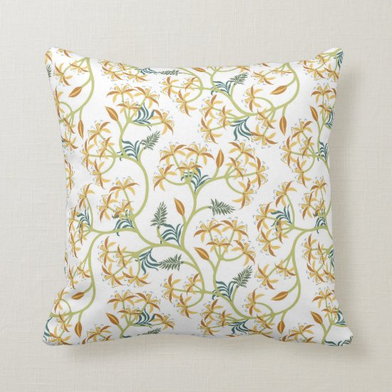 Vintage Yellow and Green Flowers Baroque Throw Pillow