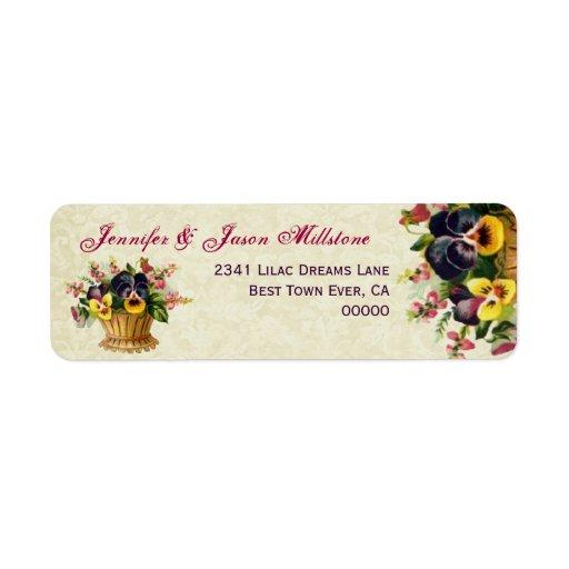 Vintage Yellow and Purple Pansies Wedding Label
