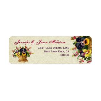 Vintage Yellow and Purple Pansies Wedding Label Return Address Label