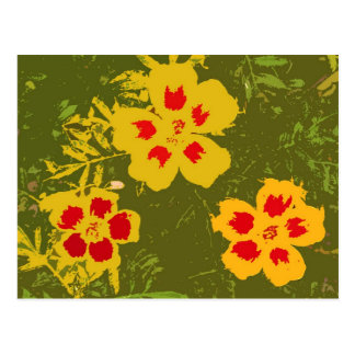 Vintage Yellow and Red Flowers Postcard