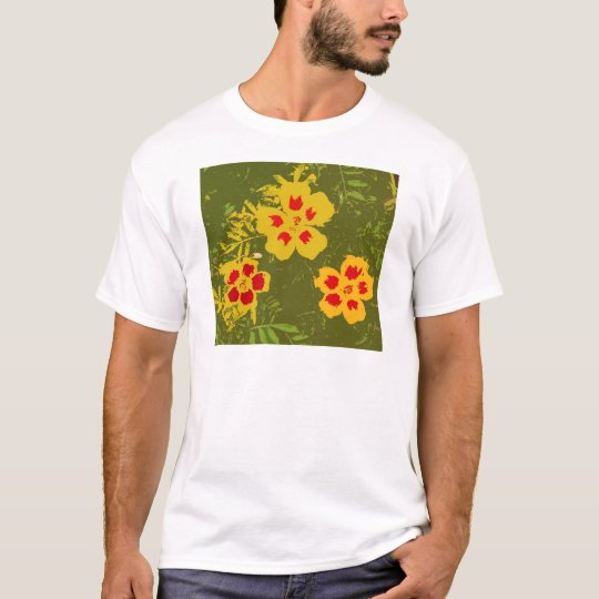 Vintage Yellow and Red Flowers T-Shirt