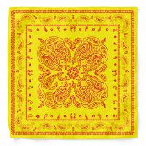 Vintage Yellow and Red Paisley Print Custom Color Bandana