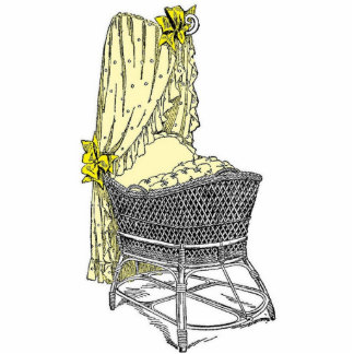 Vintage Yellow Baby Bassinet Statuette