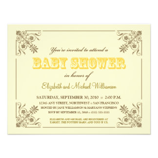 Vintage Yellow Baby Shower Invitation
