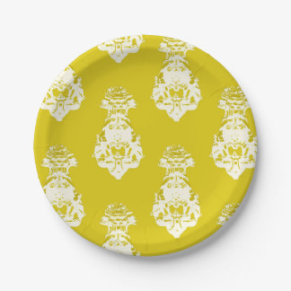 Vintage yellow background paper plate