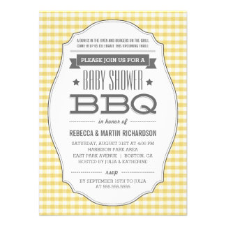 Vintage Yellow BBQ Neutral Baby Shower Invitations Custom Invites