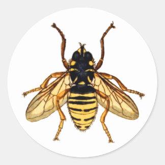Vintage Yellow Bee Classic Round Sticker