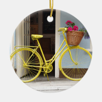 Vintage Yellow Bicycle and flower basket Ceramic Ornament