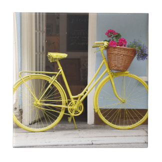 Vintage Yellow Bicycle and flower basket Ceramic Tile