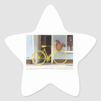 Vintage Yellow Bicycle and flower basket Star Sticker