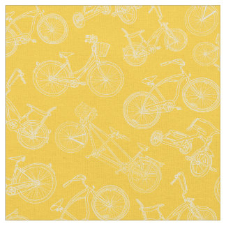 Vintage Yellow Bicycle Pattern Fabric