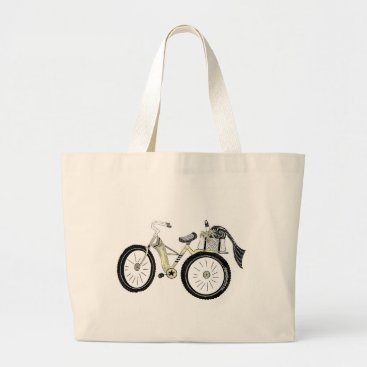 Vintage Yellow Bike with Picnic Basket Large Tote Bag