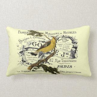 Vintage Yellow Bird Collage Lumbar Pillow