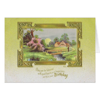 Vintage Yellow Birthday Card with Bridge and Farm