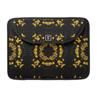 Vintage Yellow, Black Floral Damasks Retro Pattern Sleeves For MacBooks