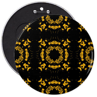 Vintage Yellow, Black Floral Damasks Retro Pattern Pinback Button