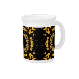 Vintage Yellow, Black Floral Damasks Retro Pattern Pitchers