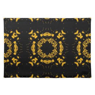 Vintage Yellow, Black Floral Damasks Retro Pattern Cloth Place Mat