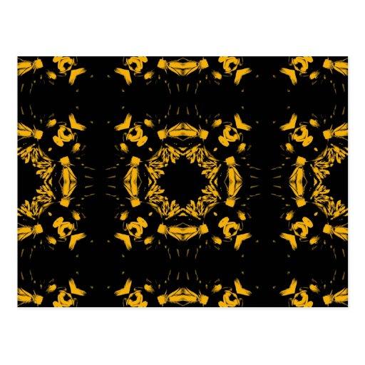Vintage Yellow, Black Floral Retro Pattern Post Card