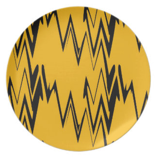 Vintage Yellow, Black Zigzap Abstract Art 2 Plate
