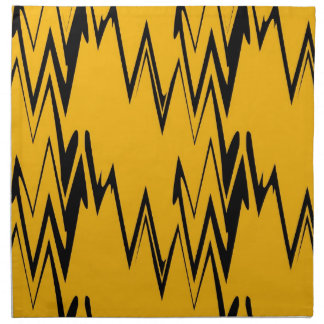 Vintage Yellow, Black Zigzap Abstract Art Deco 2 Cloth Napkin