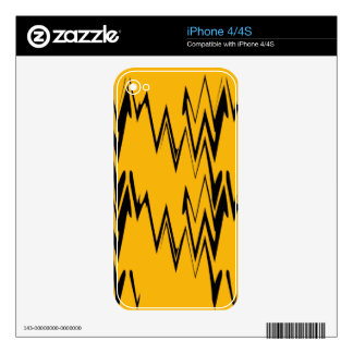 Vintage Yellow, Black Zigzap Abstract Art Deco 2 iPhone 4S Decal