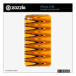 Vintage Yellow, Black Zigzap Abstract Art Deco 3 Decal For The iPhone 4S