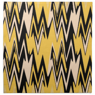 Vintage Yellow, Black Zigzap Abstract Art Deco Napkin