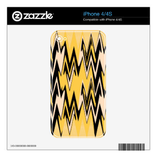 Vintage Yellow, Black Zigzap Abstract Art Deco Skin For iPhone 4