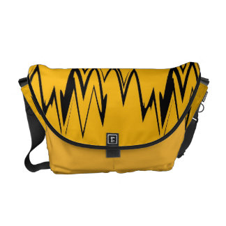 Vintage Yellow, Black Zigzap Abstract Messenger Bag