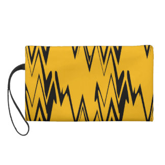 Vintage Yellow, Black Zigzap Abstract Wristlet