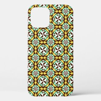 Vintage Yellow Blue Brown Barcelona Pattern Case-M iPhone 12 Case