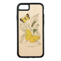 Vintage Yellow Butterflies Insects Carved iPhone 8/7 Case