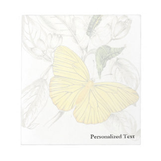 Vintage Yellow Butterflies Insects Note Pad