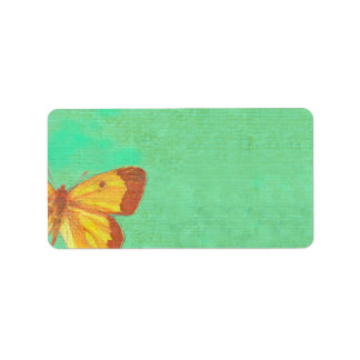 VINTAGE YELLOW BUTTERFLY Print Your own Label