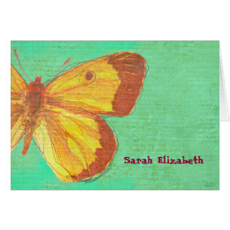 VINTAGE YELLOW BUTTERFLY  Thank You Card