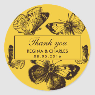 Vintage Yellow Butterfly Wedding Thank You Sticker