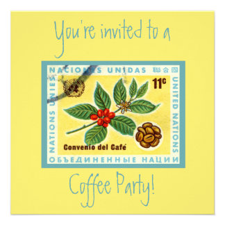 Vintage Yellow Cafe Coffee Party Invites