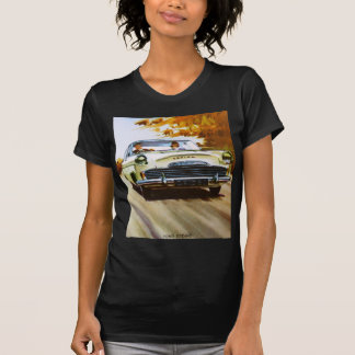 Vintage Yellow Car Fitted Black Tee Shirt