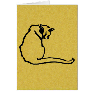 Vintage Yellow Cat Greeting Card