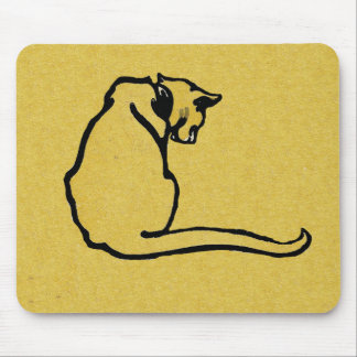 Vintage Yellow Cat Mouse Pad
