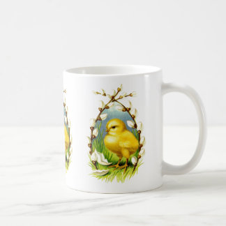 Vintage Yellow Chick & Pussywillows Coffee Mug