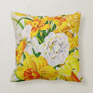 Vintage Yellow Daffodils Throw Pillow