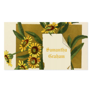 Vintage yellow daisy flowers custom floral business card