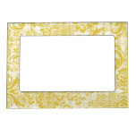 Vintage Yellow Damask Grungy Mustard Yellow Magnetic Photo Frame