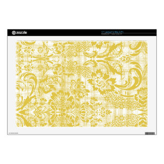 """Vintage Yellow Damask Grungy Mustard Yellow Decal For 17"""" Laptop"""
